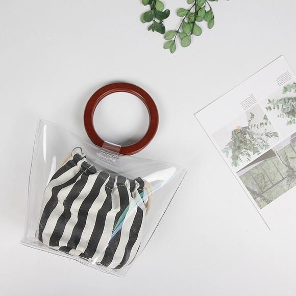 Last 1 Clear Bag Wooden Top Handle
